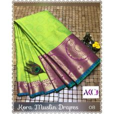 Greenish gold with pink border kora muslin Saree with running blouse
