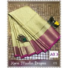 Gold with pink border kora muslin Saree with running blouse