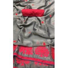 Grey with red silky chiffon Saree with unstitched blouse