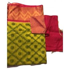 Ikkat sicco pattu Saree with readily stich blouse