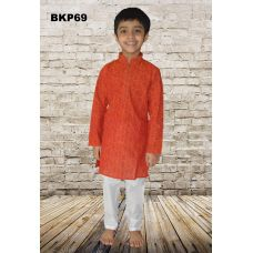 1 to 9 Yr Boys Orange Printed Cotton Casual Wear Kurta Pajama Set