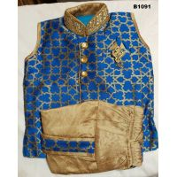 Blue and Gold Party Wear Ready to Wear Boys Dhoti Kurta