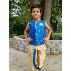 Blue Beige Dhoti Kurta Indian Ethnic Dress for Boys