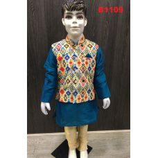 Blue Beige Kurta Pajama w/ Multicolor Jacket for Boys