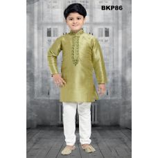 Boys 1 to 15 Year Old Embroidered Green silk Kurta Pajama