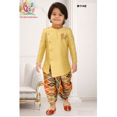Boys Asymmetric cut Golden yellow Jodhpuri suit with Ikkat printed Dothi