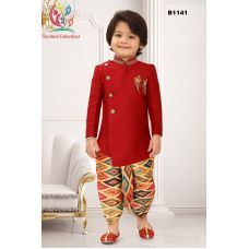 Boys Asymmetric cut Maroon Jodhpuri suit with Ikkat printed Dothi