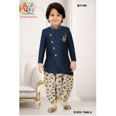 Boys Asymmetric cut Navy Blue Jodhpuri suit with Off white floral Dothi