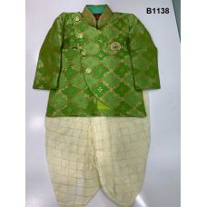 Boys Banarasi Asymmetric cut Green Kurta with off white Checkered Dothi Suit