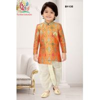 Boys Banarasi Asymmetric cut Orange Kurta with off white Checkered Dothi Suit