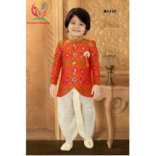 Boys Banarasi Asymmetric cut Orangish Red Kurta with off white Checkered Dothi Suit