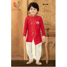 Boys Banarasi Asymmetric cut Red Kurta with off white Checkered Dothi Suit