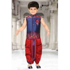 Boys Blue and Maroon Dothi Kurta set