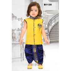 Boys Blue and Yellow Dothi Kurta set