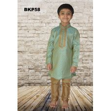 Boys Blue Brocade Festive wear Kurta Pajama Set
