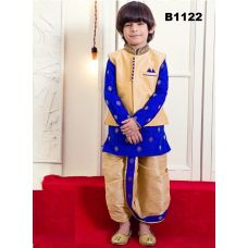 Boys Blue Gold Silk Jacket-Kurta Pyjama & Dhoti Set