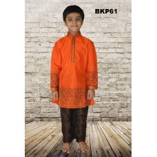 Boys Bright Festive Orange Printed silk Kurta Pajama Set