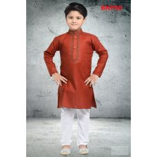Boys Brown Comfortable Cotton Kurta w/ Pajama set
