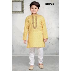 Boys Cotton Embroidered Lemon Yellow  Kurta Pajama w/ Butti Work