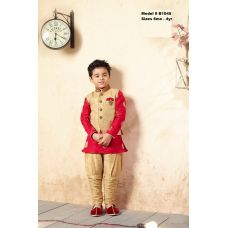 Boys Elegant Ethnic Gold Red Kurta Pajama w/ Jacket