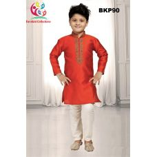 Boys Embroidered Jacquard Orange Kurta Pajama 1 to 15 Years Old