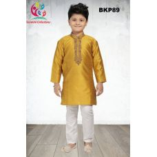 Boys Embroidered Jacquard Yellow Boys Kurta Pajama 1 to 15 Years