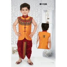 Boys Embroidered Orange and Maroon Dothi Kurta set