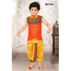 Boys Embroidered Orange and Yellow Dothi Kurta set