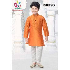 Boys Embroidered Orange Raw Silk Kurta Pajama 1 to 11 Year Olds