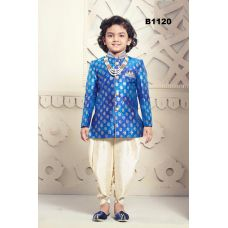 Boys Gold & Blue Dhoti Kurta Dress for Parties