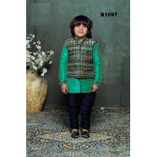 Boys Green Blue Ethnic Design Kurta Pajama w/ Jacket Set