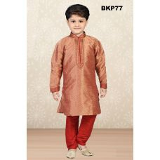 Boys Maroon & Gold Brocade Silk Kurta Pajama - 1 to 13 Year Boys