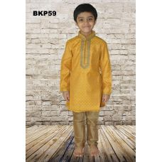 Boys Mustard Yellow Brocade Festive wear Kurta Pajama set