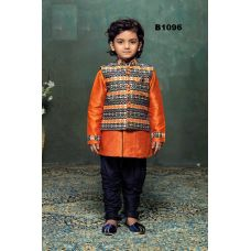 Boys Orange Blue Kurta Pajama w/ Jacket 1 to 10 Year Old