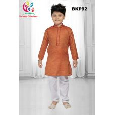 Boys Orange Cotton Traditional Kurta Pajama Set 1 to 13 Years