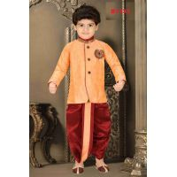 Boys Peach and Maroon Dothi Kurta suit