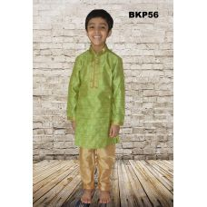 Boys Pistachio Green Cotton Silk Festive wear Kurta Pajama set