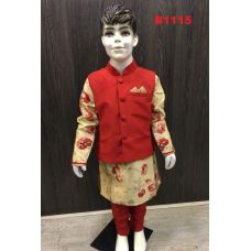 Boys Plain Red Waist Jacket w/ Silk Floral Design Kurta Set