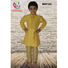Boys Printex Silk Yellow Kurta Pajama Set - 1 to 15 Years Old