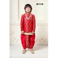 Boys Red Self Design Silk Jacket-Kurta Pyjama & Dhoti Set