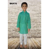 Boys Sea Green Cotton Self Design Casual wear Kurta Pajama