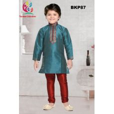 Boys Stunning Blue Embroidered Silk Party Wear Kurta W/ Red Pajama