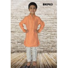 Boys Teens Orange Cotton Festive Wear Kurta Pajama Set