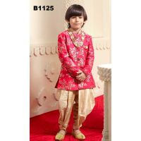 Boys Tomato Red Floral Indo-western Kurta Suit