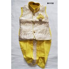 Boys Yellow and off white Dothi Kurta set