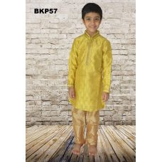 Boys Yellow Cotton Silk Festive wear Kurta Pajama Set