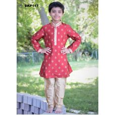 Brick Red Silk w/ Gold Print Buti Kurta & Pajama Set