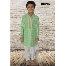 Bright Pistachio Green Cotton Silk Kids Kurta Pajama