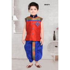 Bright Red & Blue Fancy Party Wear Kids Dhoti Kurta