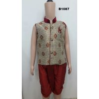 Children 2, 3 & 4 Year Readymade Dhoti Kurta in Gold Maroon